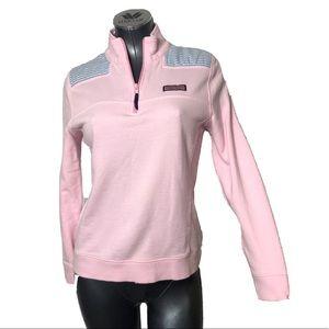 Vineyard Vines 1/4 Zip Pink Pullover Sweater